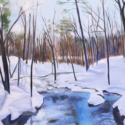 "20"" x 16""  Original Oil Painting  Serene winter Stream"