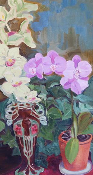 """20"""" x 10"""" Antique Art Deco Vase with Orchids"""