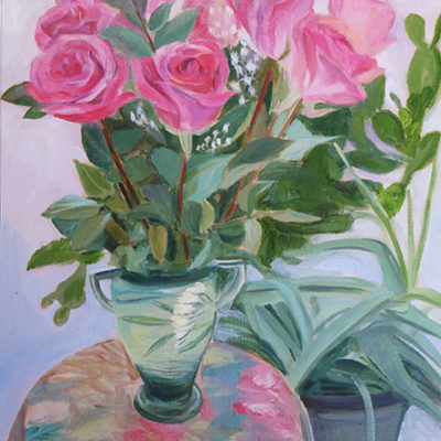 "16 "" x 12"" Antique Roseville Vase and PINK Roses"